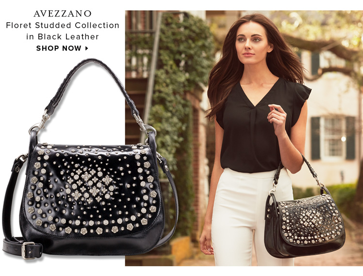 Avezzano in Black Leather from the Floret Studded Collection