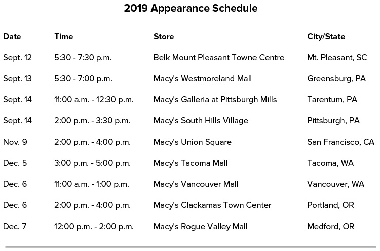 Patricia Nash Appearance Schedule 2019